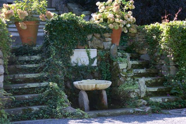 Double stair into the sunken garden