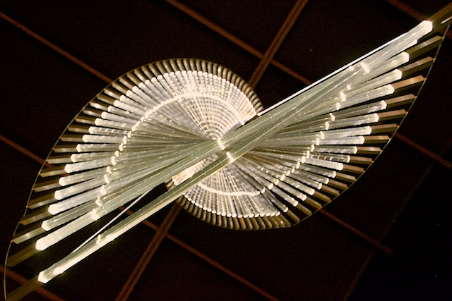 A chandelier directly overhead