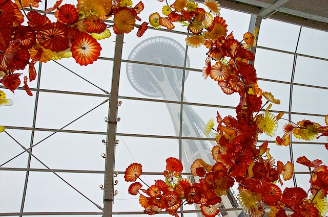 View of Space Needle from inside Chihuly's Glass House