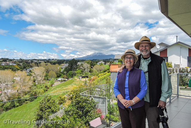 View of Mt Taranaki from the terrace, Rich & I enjoy the moment